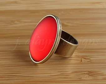 Red Lucite Ring. Red Cabochon Ring. Antiqued Brass Adjustable Ring