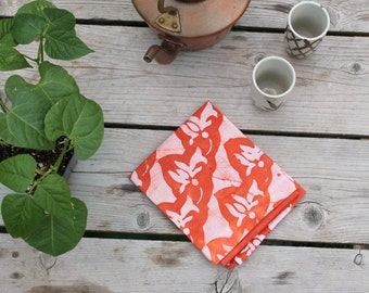 batik linen tea towel rust orange dye