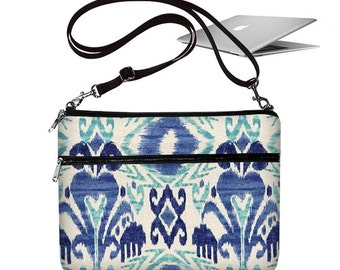 CLEARANCE 11 Air Macbook Case Crossbody Bag 11 Air Laptop Bag 11 inch Laptop Case  with shoulder Strap  for Women Blue Ikat white aqua RTS