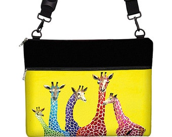 Clara Nilles Laptop Bag with Strap, 13 inch MacBook Pro Case, Macbook Air 13 Sleeve  -  Cute Giraffes colorful yellow red blue RTS