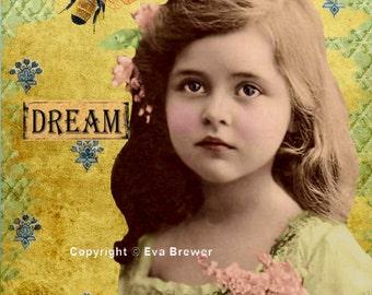 Original digital collage ephemera altered art vintage sheets digital print inspirational flowers children