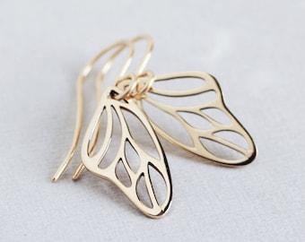 Papillon - Golden bronze butterfly wing earrings 14K goldfill