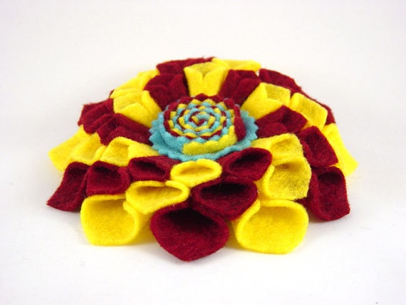 "4.5"" Chaos Swirl Dahlia Barrette - burgundy red golden yellow turquoise blue"
