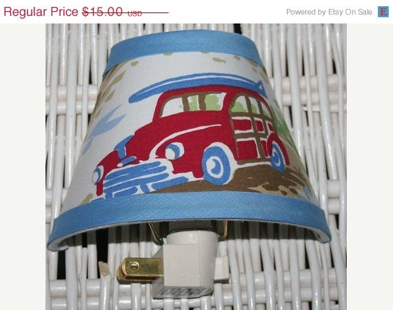 ON SALE Nightlight Santa Barbara Blue Aloha Island Surf Woody Car  handmade with Pottery Barn Kids fabric