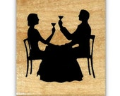 Couple Dining Silhouette mounted rubber stamp, Paris, French #22