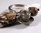 Brown, cream brioche agate,  jasper, coffee cup keyring