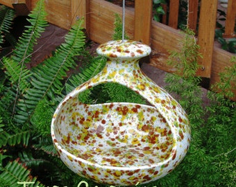 Hanging Ceramic Bird Feeder for Bird Seed or Hanging Planter in Vibrant Colors