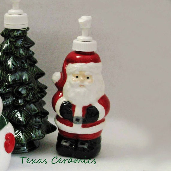 Reserved for Laura - 2 Santa Claus Pump Dispenser Bottle for Liquid Soap or Lotion