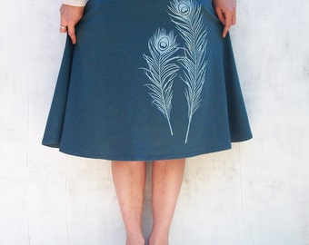 Organic Jersey Knit Skirt- Knee Length Skirt for Women - Stretchy Turquoise Skirt- A Line Feather Skirt- Comfy Spandex Skirt - Graphic Skirt
