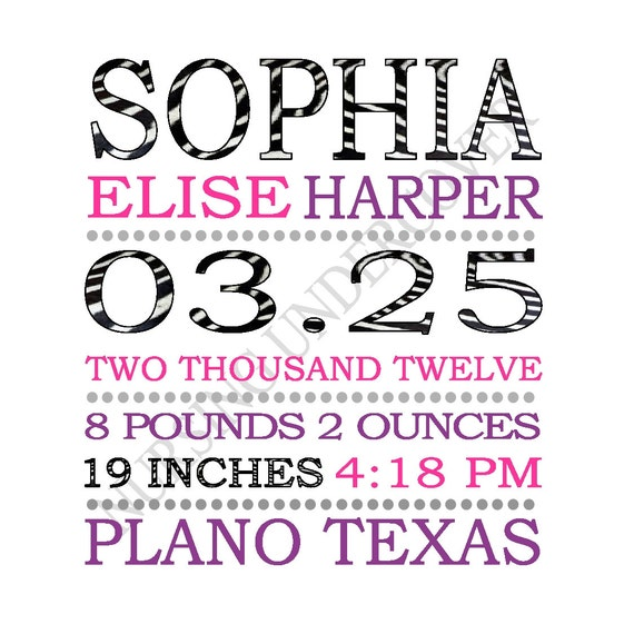Typography 7x7 Square or 8 1/2 by 11 Custom Personalized Birth Print Announcement Nursery