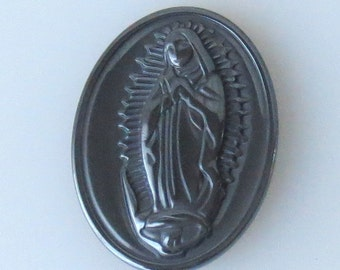 Hematite Our Lady of Guadalupe Pendant Bead, 30x40mm