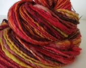 Handspun Yarn Single Ply Bulky, 110 yards, 4.1 oz. Merino Wool - BONFIRE - Thick and Thin Singles Lopi TnT Knitting Crochet Weaving Felting
