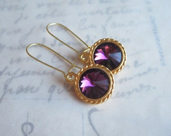 SALE    Amethyst Rivoli Earrings,   Wedding, Spring Fashions, Under 20, Swarovski