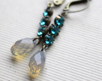 Ingrid Earrings - Swarovski - Antiqued Brass