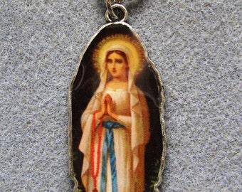 Our Lady of Lourdes Virgin Mary Handmade Catholic Resin Necklace VM15
