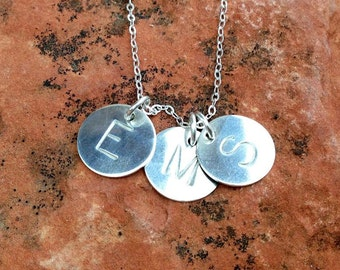 Hand Stamped Sterling Silver Initial Necklace