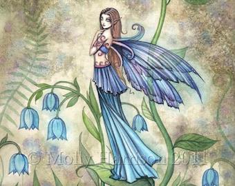 Blue Bell Flower Watercolor Fairy Fantasy Art Print by Molly Harrison