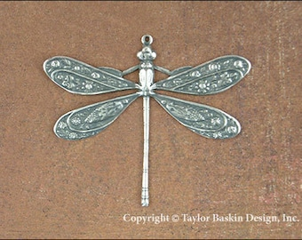 Antiqued Sterling Silver Plated Dragonfly (item 7008-large AS) - 2 Pieces