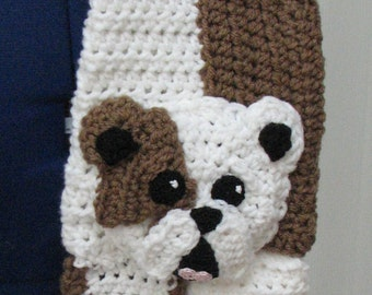 Bull Dog Scarf Crochet Pattern In USA Terms, PDF, Digital Download