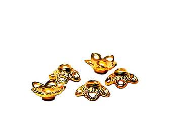 Golden Stars- bead caps- jewelry findings