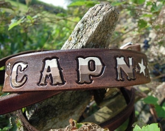 Personalized Leather Dog Collar Bison Brown with Stars