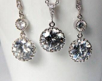 Bridal Jewelry, Wedding Accessories, Chandelier Swarovski Crystal Earrings/Necklace Set - Style ENS117