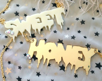 SWEET or HONEY Acrylic Necklace