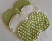 Soft Flannel Nursing Pads, 3 Pair in Cream and Leaf Green Flannel and Bamboo/Cotton Fleece