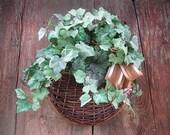 GRAPE LEAF  WREATH alternative Hanging floral BaSKeT