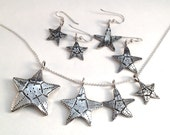 Starfish Pendant or Earrings Made from Silver Vintage American Coin Dime Quarter Half Dollar