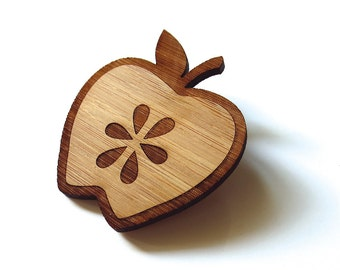 Fresh Apple Pin. Apple Pin. Apple Brooch. Wood Brooch. Wood Pin. Bamboo Pin. Laser Cut Pin. Teacher Gift. Gifts for her. Fruit Pin. Apple.