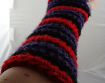 Red, Purple, and Black Striped Crocheted Arm Warmers (size M-L) (SWG-AW-MJ03)