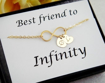 Best Friend Card with Infinity Bracelet, TWO Monograms Bracelet, Personalized Initial Bracelet, Sister Bracelet, Couple Jewelry