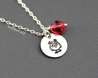 Owl and Custom Birthstone Necklace, 925 Silver or 14K Gold fill Owl Charm Necklace, Small Rose Gold Hand Stamp Owl Jewelry, Holiday Gift