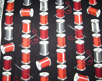 Project Runway Fabric You've Got the Notion Red Threads Black White Spools 1/2 YD by Robert Kaufman OOP