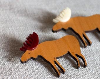 Moose brooch - Moose gift - moose jewellery - moose jewelry - elk gift - Animal brooch -  Moose pin - Elk brooch - Elk Jewelry