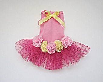 Dog dress tutu in pink and yellow with satin flowers. Summer dog dress doggie bling Or white rib knit in a french design
