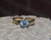Diamond Engagement Ring- 14kt Yellow Gold band with White Gold Diamond bezel, Engagement Band