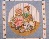 Victorian Nursery Dolls Bears Pillow Panel Set on Blue With Coordinating 4X36 Strip - Novelty Fabric - VIP Cranston Works Screen Print - OOP