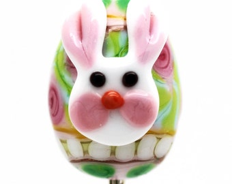 Made to order Margo lampwork beads easter eggs rabbit randon color OOAK