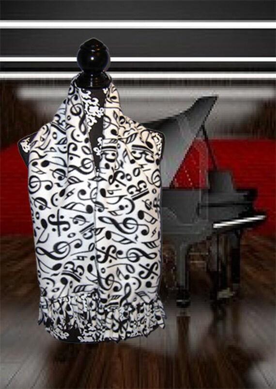 Crazy Notes Fleece Scarf, Music Themed Muffler,  Bufanda