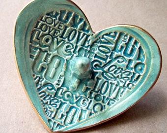 Ceramic Ring Holder Bowl  Heart Sea Green gold edged LOVE