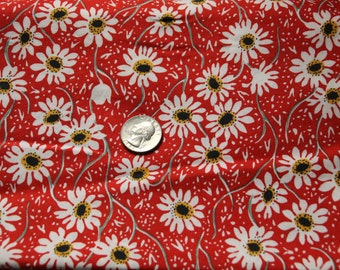 In The Beginning - Happy Times by Sharon Evans Yenter - Flowers on Red - One Full Yard