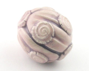 Light Pink Bead, Pink Bead, stoneware beads, ceramic beads, rustic beads, artist beads, textural beads, unique beads, jewelry making beads