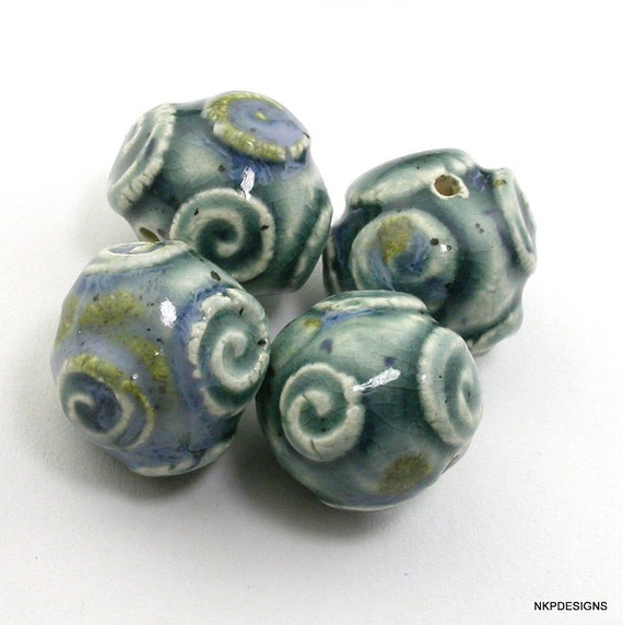 Teal Blues Swirl Sprig Ceramic Beads