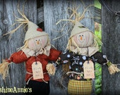 "CLEARANCE SALE! Make-do Scarecrow on vintage spindle ""If I only had a brain"""