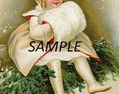 Digital Vintage Christmas Child Greeting Image Download JPEG