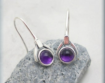Purple Amethyst Earrings Gemstone Jewelry February Birthstone Sterling Silver (SE984)