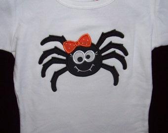 Cute Girly Spider Halloween Appliqued Tee