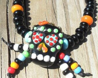 Lampwork Sugar Skull Necklace Dia De Los Muertos - Day of the Dead, Handmade SRA LETEAM Glassymom